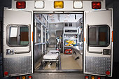 Ambulance with rear doors open - Stock Image - B16KDD