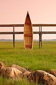 Hand Built wooden canoe Cape Cod Massachusetts - Stock Image - A6NC89