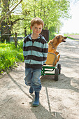 Boy pulling cart with dog - Stock Image - D2AMRF