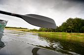 image of water droplets falling off canoe oar - Stock Image - BHMYC0