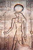 Relief carving of Ra, the Sun God, Karnak Temple, Luxor, Egypt - Stock Image - AX6XG7