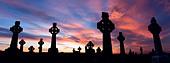 Celtic crosses at sunset, County Sligo, Ireland. - Stock Image - C3HAF2