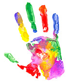 Close up of colored hand print on white background. - Stock Image - C53FXC