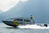 High speed patrol boat FB Design of Guardia di Finanza on Swiss/Italian border, Lake Maggiore. - Stock Image - DANEG1