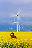 a farmer views moving wind turbines from a blooming canola field, St. Leon, Manitoba, Canada. - Stock Image - CFAGN9