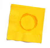 Yellow paper napkin with water ring - Stock Image - BBWPNB
