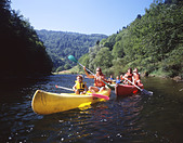 family river Doubs canoe spare time summer aquatic sports water sports to paddles Boat Canton Jura Switzerl - Stock Image - BWJHXW