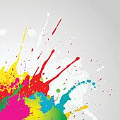 Grunge background with colourful paint splats - Stock Image - DNNGE0