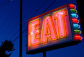 EAT Sign at Restaurant Route 1 Saugus Massachusetts - Stock Image - AM1ADA