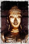 Gold Asian Buddha - Stock Image - BM03RD