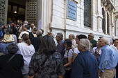 Athens, Greece. 2nd July, 2015. Elderly people wait for the bank to open early in the morning. Pensioners that did not have a debit card queued outside banks to withdraw part of their pension as almost 1000 Greek bank branches amid have opened for this reason. © Nikolas Georgiou/ZUMA Wire/ZUMAPRESS.com/Alamy Live News - Stock Image - EWX57X