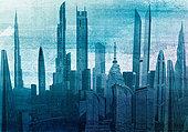 Modern cityscape skyscraper architecture - Stock Image - EB4AW4
