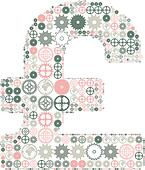 British pound sign on a white background, made of colored gears. Vector illustration - Stock Image - DNNJAC