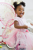 African American girl in fairy costume - Stock Image - BB043R