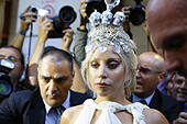 Athens, Greece. 19th September 2014. Lady Gaga leaves the grand Bretagne Hotel in Athens on her way to her concert. Lady Gaga stayed in the Hotel Grande Bretagne in Athens ahead of the Greek leg of her world tour ArtRave: The Artpop Ball. © Michael Debets/Alamy Live News - Stock Image - E7K13B