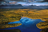 Lakes and muskegs (aerial), Chitina River Valley, Wrangell St. Elias National Park, Alaska - Stock Image - BFFN2W