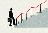 Optimistic businessman climbing graph staircase - Stock Image - E9XXGW