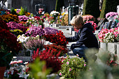 Cemetery on All Saints' Day, Chedde, Haute Savoie, France - Stock Image - BM2M2Y