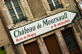 road sign ch de meursault beaune cote de beaune burgundy france - Stock Image - C0TDR3