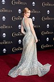 epaselect epa04643997 British actress and cast member Lily James arrives for the world premiere of Disney's 'Cinderella' at the El Capitan Theatre Hollywood, Los Angeles, California, USA, 01 March 2015. The movie opens in US theaters on 13 March 2015.  EPA/NINA PROMMER - Stock Image - EH1D13