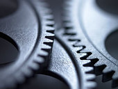 Close up of metal cogs - Stock Image - BP5NPC