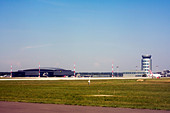 Terminal and control tower at Rzeszow Jasionka Airport, Rzeszow, Poland - Stock Image - D583YT