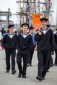 Aarhus, Denmark. 4th July, 2013. Young crew members of the Danish vessel Georg Stage during The Tall Ships Races 2013 in Aarhus, Denmark. The city of Aarhus in Denmark, is the starting point of this years Tall Ships Races. The event includes a fleet of 104 sailing vessels and 3000 crew members from all over the world. © Michael Harder/Alamy Live News - Stock Image - DA5TY8