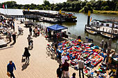 open air second hand market on the banks of the River Wesser at Bremen, Germany - Stock Image - E744KY