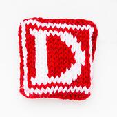 Knitted letter D woollen lettering. - Stock Image - ED87CB