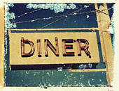 a neon diner sign in New York , NY.. polaroid transfer, ©mak - Stock Image - D0WRE0