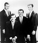 THE CRICKETS  1950s US group from l: Sonny Curtis, Jerry Allison, Jerry Naylor, Glen Hardin - Stock Image - CXN89J
