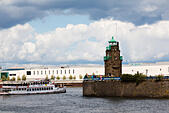 Der Mauseturm lighthouse on the River Wesser, Bremen, Germany - Stock Image - E6RAW6
