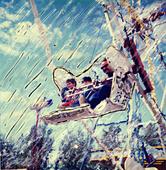 Family on Ferris Wheel Alaska State Fair Palmer AK Summer SC Manipulated Polaroid - Stock Image - AR0H5X