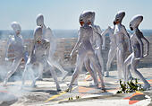 Berlin, Germany. 02nd July, 2015. The 'Aliens' of the show 'The Wyld' pose on the Teufelsberg, a former communications intercept station, in Berlin, Germany, 02 July 2015. The dancers are part of the show in futuristic style that guests at the Berlin Friedrichstadt-Palast since October 2014 and that is to run for another two years. Photo: JENS KALAENE/dpa/Alamy Live News - Stock Image - EWXX4H