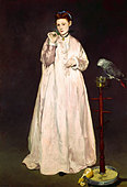 """fine arts, Manet, Edouard, (1832 - 1883), painting, ""La Femme au Perroquet"", (""woman with a parrot""), 1866, oil on canvas, - Stock Image - AFNEK8"