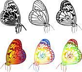 Vector set of beautiful butterflies. - Stock Image - DNKRYW