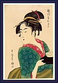Naniwaya okita, Okita of Naniwa-ya. [1793, printed later], 1 print : woodcut, color., Print shows Naniwaya Okita - Stock Image - DDXB4M