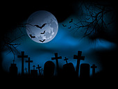 Spooky graveyard at night - Stock Image - BJR7M2