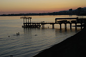 The harbour of Sukhumi, capital of Abkhazia, by night - Stock Image - AA9YN7