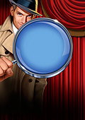 Detective holding magnifying glass - Stock Image - D10JRF