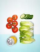 Sandwich fillings, salad ingredients - Stock Image - BFCXWE