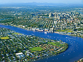 Aerial view of Brisbane Queensland Australia looking West from Bulimba - Stock Image - BKX05B
