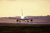 Commercial airliner at London Gatwick Airport runway, England, United Kingdom - Stock Image - DNKETG