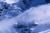 View of the Trockner Steg cable car and glaciers Zermatt Switzerland - Stock Image - B6W1GX