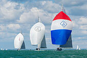 Cowes, Isle of Wight, UK,  Wednesday, 29 July 2015. Three magnificent J-Class Yachts (Ranger, Lionheart and Velsheda) take part in the Race Around the Island. The event is organised by the the Royal Yacht Squadron (RYS) as part of their  Bicentenary International Regatta. © Sam Kurtul / Alamy Live News - Stock Image - EYH28M