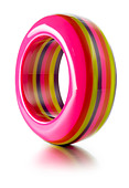 striped bright colored bangle - Stock Image - BE46D8