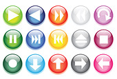 vector illustrations of glossy glass buttons for icons. - Stock Image - CF2MN9