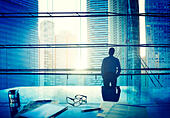 City Scape Businessman Thinking Concepts - Stock Image - EMY7BM