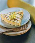 A piece of courgette gratin with dill (1) - Stock Image - B46NA2