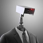 A robotic security camera - automated surveillance - Stock Image - D3JEJE